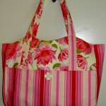 Striped Tote with Flowers