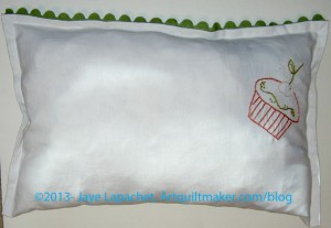 Tea towel pillow - back