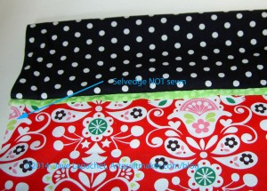 First seam sewn; case on ironing board