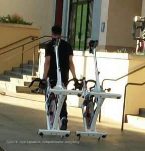 Going for a walk with an exercise bike