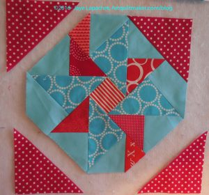 First corner triangle sewn