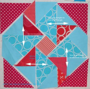Sew small triangles to larger triangle
