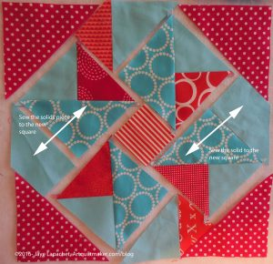 Sew squares to solid fabric