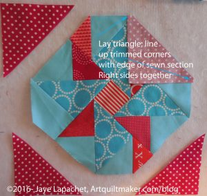 Lay out triangle on sewn section