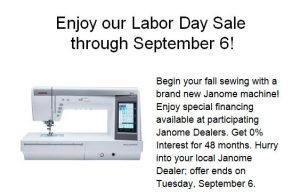Janome Labor Day Sale