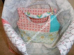 Gifts in Big Patchwork Tote -in process