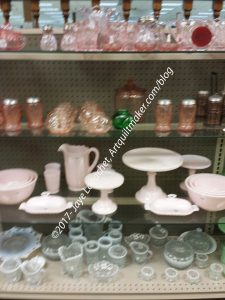 White & Pink Pressed Glass - original