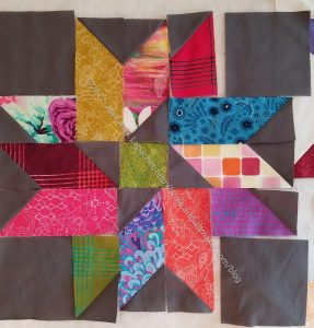 Triple Star Test block - half sewn
