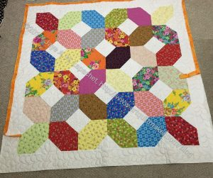Mostly Manor Lozenge Quilt after quilting