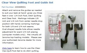 Janome Clear View Quilting Foot