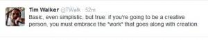 Tweet about creative work