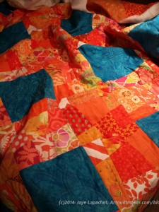 Orange blocks quilted