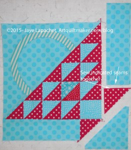 Sew triangle to border with words