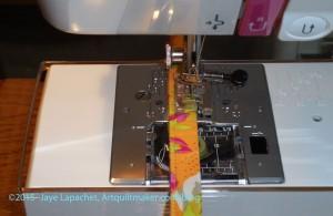 Topstitch around fabric - detail