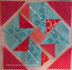 Sew new section to square