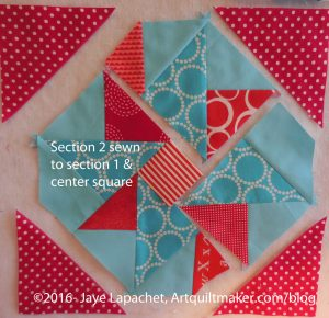 Section 2 sewn to section 1 + center square