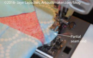 Sew partial seam