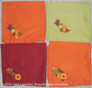 Thanksgiving napkins, October 2016
