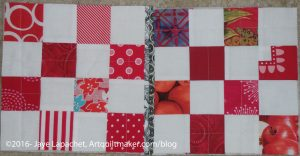 First joined/quilted QAYG blocks