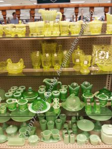 Green & Yellow Pressed Glass