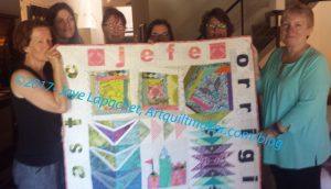 Kelly's Good-bye quilt 2017 with peeps