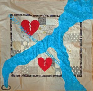 Art Quilt: with hearts in progress