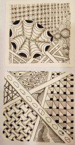 First two Zentangle tiles
