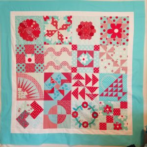 Aqua-Red Sampler Top finished