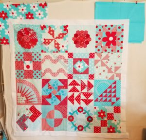 Aqua-Red Sampler Quilt border audition