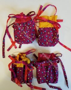 Finished Jeni Baker Drawstring Gift Bags - Snack sized