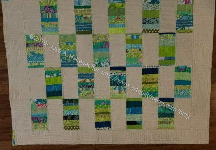 Green Strips Donation Quilt quilted