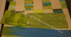 Green Strips Donation Quilt -scrappy binding detail