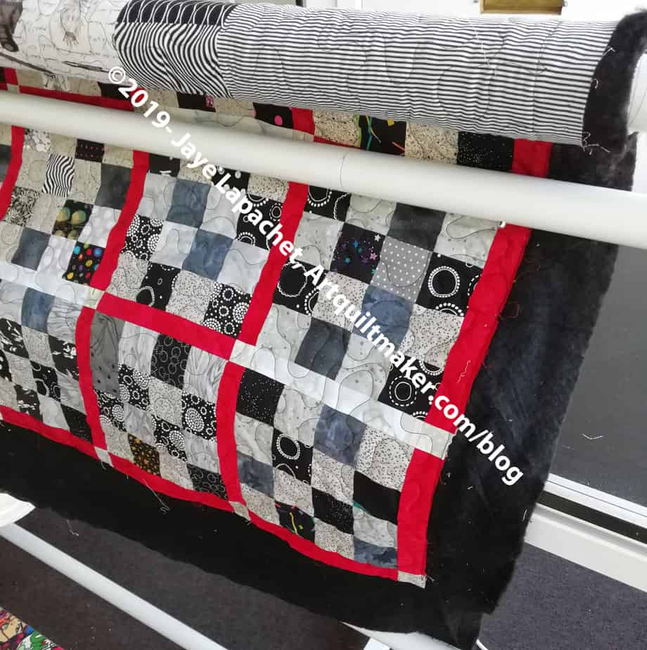 Black & Grey Teenaged Boy Donation Quilt - quilted (detail)