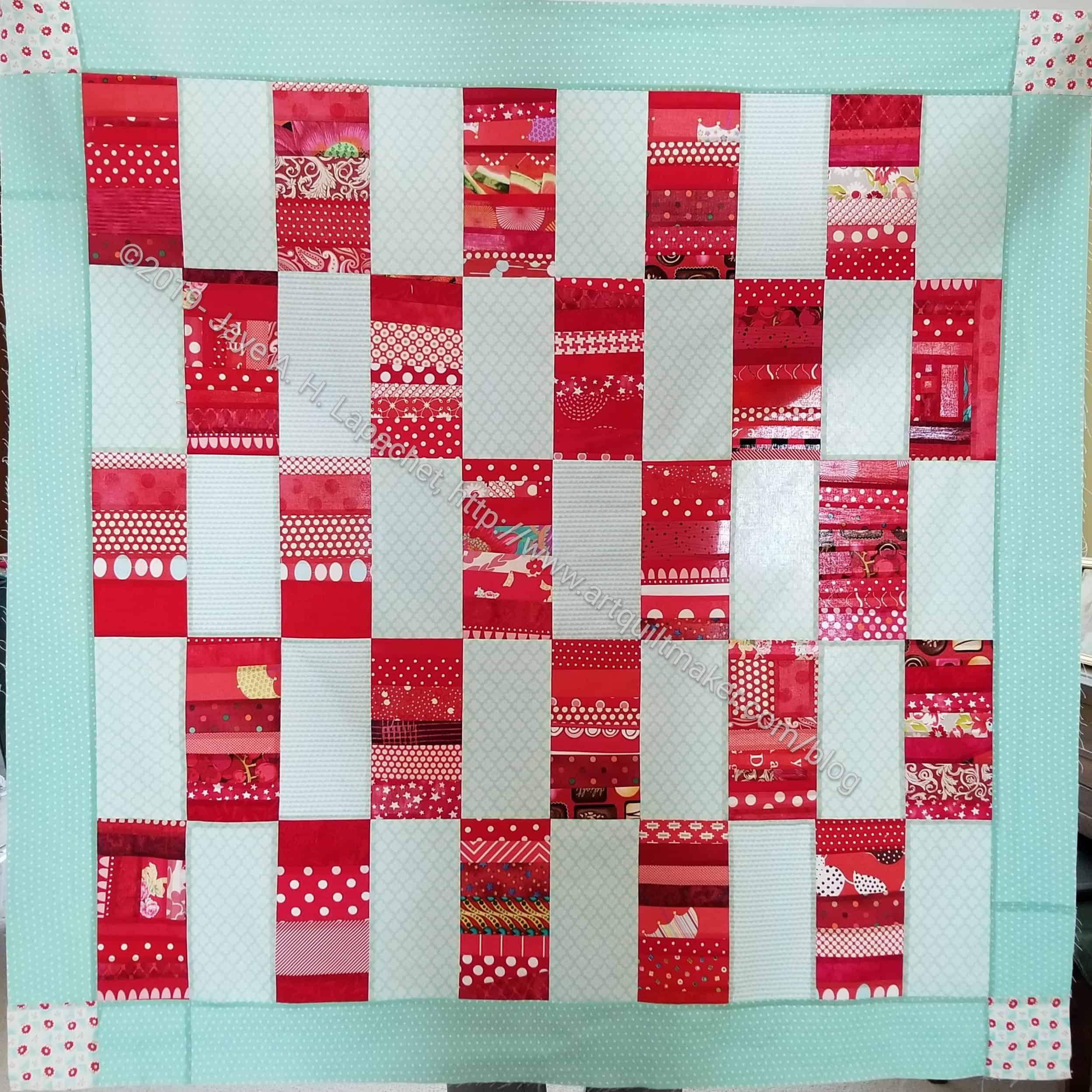 Finished Red Strip Donation Top Artquiltmaker Blog