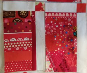 Take two blocks with sashing & sew them together