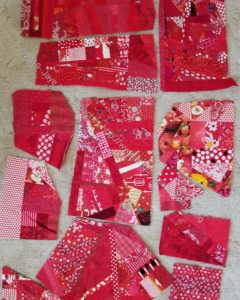Red made fabric pieces